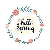 Hand drawn spring wreaths with text Hello  lettering. Spring flowers with hygge branches and cozy leaves, spring time scandinavian style concept