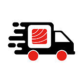 Sushi delivery logo template. Vector illustration Sushi roll sign by car, symbolizes the fast delivery. EPS 10.