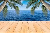 Wooden floor or plank on sand beach in summer. For product display.Calm Sea and Blue Sky Background.