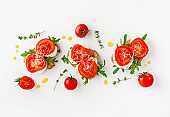 Italian food concept. Open sandwiches with mozzarella, tomatoes and arugula on white background. Overhead, flat lay