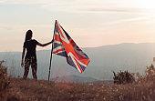 Female with UK British Flag outdoor