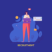 Woman holding a business briefcase. Job candidate with good feedback. Recruitment or headhunting agency. Concept of recruitment, headhunting, employment. Vector illustration for UI, web banner, app