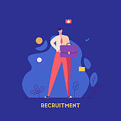 Man holding a business briefcase. Job candidate with good feedback. Recruitment or headhunting agency. Concept of recruitment, headhunting, employment. Vector illustration for UI, web banner, app