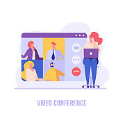 Woman communicating via online video conference. Online meeting. Concept of work from home, chatting with friends, group video chat. Vector illustration in flat design for UI, banner, mobile app