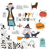 Set of cute Halloween characters on white background