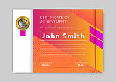 Official orange certificate with pink design elements. Modern blank with gold emblem. Vector illustration