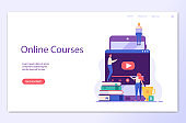 People studying and teaching online with mobile phone. Reading books, e-learning. Concept of successful studying, online lesson, modern education, learning language. Vector illustration in flat design