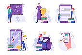 People studying and teaching online. Reading books and e-learning. Concept of successful studying, online lesson, modern education, learning language. Vector illustration in flat design