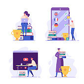 People studying and teaching online. Set of reading books and graduation. Concept of successful studying, learning languages, modern education. Vector illustration in flat design