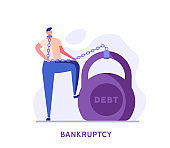 Man is chaining to a huge weight, debt. Concept of bankruptcy, financial problem, debt, closed bussines, problems. Vector illustration in flat design