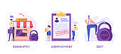 Set with man and woman with financial and career problems. Concept of bankruptcy, debt, closed bussines, fired, discharged, dismissed, unsuccessful career. Vector illustration in flat design