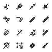 Designer tools line icons set