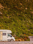 Camper car motorhome on nature