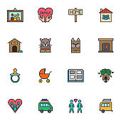 Family love filled outline icons set