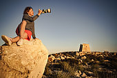 Tourist take photo, Cabo de Gata, Spain