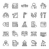 Elections, voting, linear icon set. Population chooses an individual to hold public office, selecting representatives, results and statistics. Line with editable stroke