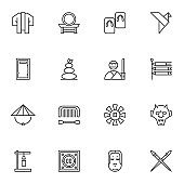 Japanese culture line icons set