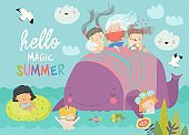 Cute cartoon children with big whale in the blue sea