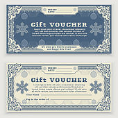 Christmas vintage Voucher template with floral border, snowflakes and christmas balls. Gift coupon
