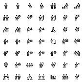 Business people communication vector icons set
