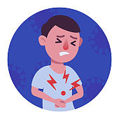 Man with abdominal pain colorful pictogram