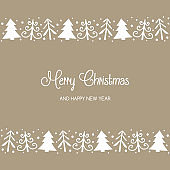 Design of Christmas trees with wishes. Xmas greeting card. Vector
