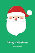 Christmas card with happy Santa Claus and wishes. Vector