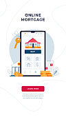 Online mortgage vertical banner for concept of new home buying. House, bank building, loan contract, house keys, Buy button on phone screen. Vector illustration in flat