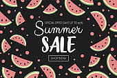 Summer Sale banner with watermelon background. Vector