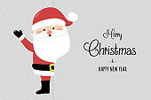 Christmas card with funny Santa Claus and wishes. Vector