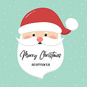Christmas card with Santa Claus head and wishes. Vector