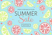 Summer Sale banner. Background with juicy citruses. Vector