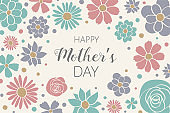 Mother's Day. Design of a banner with cute flowers and wishes. Vector