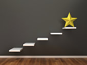 Business Characters on Steps with Star on Chalkboard - 3D Rendering