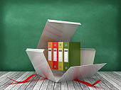 Gift Box with Ring Binders on Chalkboard Background - 3D Rendering