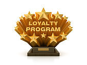 Gold Stars with LOYALTY PROGRAM Phrase on Trophy - 3D Rendering