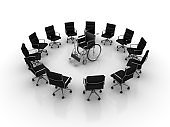 Chairs Teamwork with Wheelchair - 3D Rendering