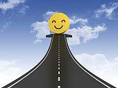 Road Arrow with Happy Emoticon on Sky - 3D Rendering