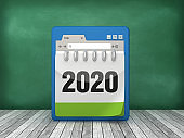 Web Browser with 2020 Calendar - 3D Rendering