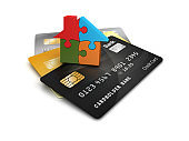 Credit Cards with Puzzle House - 3D Rendering