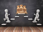 Business Characters on Steps with Bitcoin Symbol Money Sack on Chalkboard - 3D Rendering