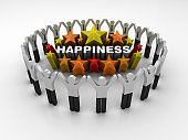 Pictogram Teamwork and Colorful Stars with HAPPINESS Word - 3D Rendering