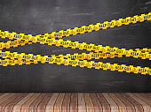 Cordon Tape with KEEP OUT Phrase on Chalkboard Background - 3D Rendering
