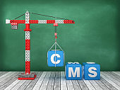 Tower Crane with CMS Word on Chalkboard Background - 3D Rendering