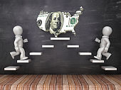 Business Characters on Steps with Dollar Bill USA Country Shape on Chalkboard - 3D Rendering