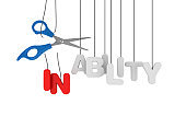 INABILITY/ABILITY Hanging Word with Scissors - 3D Rendering