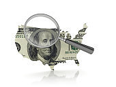 Magnifying Glass with USA Country with Dollar Bill - 3D Rendering