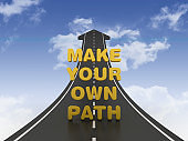 Road Arrow with MAKE YOUR OWN PATH Phrase on Sky - 3D Rendering