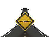 Road Arrow with BLOCKCHAIN Road Sign - 3D Rendering