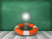 Life Belt with Light Bulb on Wood Floor - Chalkboard Background - 3D Rendering